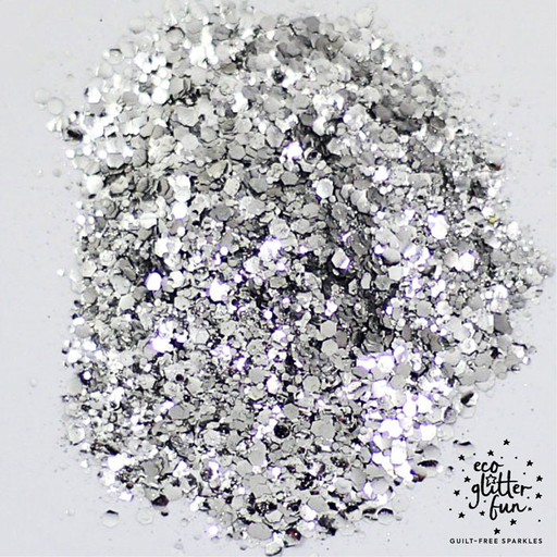 silver blend of vegan and biodegradable eco glitter from Eco Glitter Fun