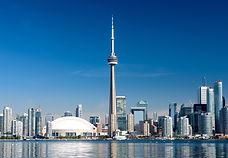 Toronto city skyline on clear sunny day,