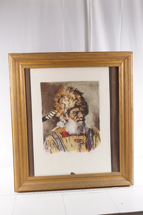 Signed Framed Print Of Early American Frontier Scout