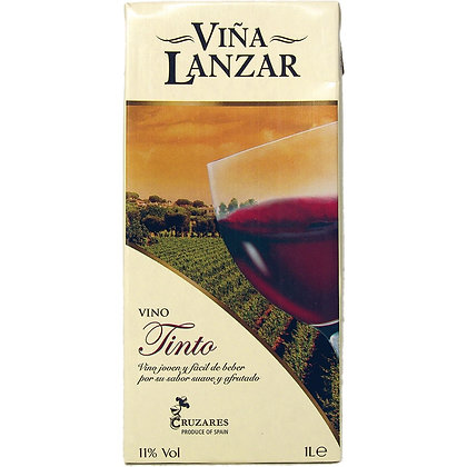 ויניה לאנזאר - יין אדום יבש בקרטון 1 ל'