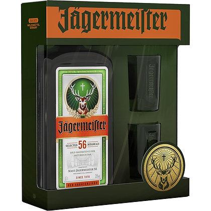 """יגרמייסטר 70ס""""ל במארז + 2 כוסות שוט ירוקות"""