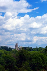 Bryn Athyn Cathedral (New Church), from Pennypack Park, August 2015
