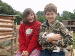 With George the rabbit