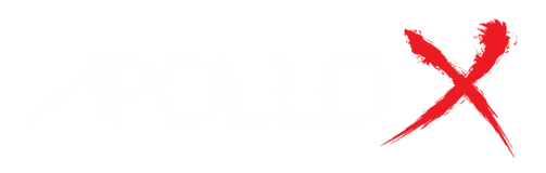 Apollo X Logo, Apollo is written as a glitched text and th X is a bloody letter.