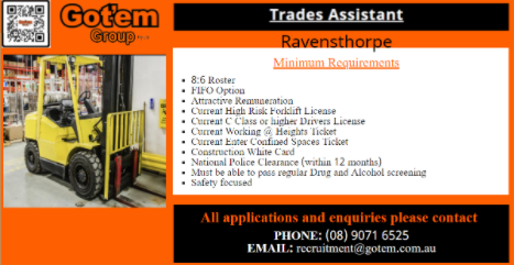 Trade Assistant with forklift ticket