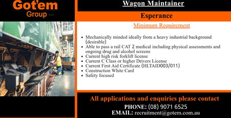 2 x Experienced Wagon Maintainer