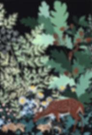 forêt triptyque forest triptych ilustration gouache painting Lil Sire