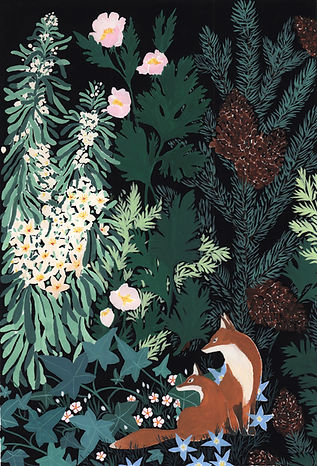 forêt triptyque forest triptych ilustration gouache painting Lil Sire fox renard flower