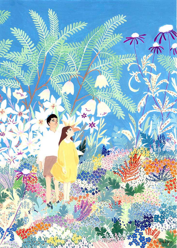 tropical paradise summer illustration Lil Sire art gouache paining