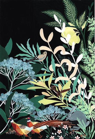affiche forêt dans la nuit
