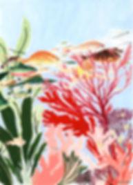 plongée sous-marine triptyque underwater diving triptych Lil Sire art gouache painting