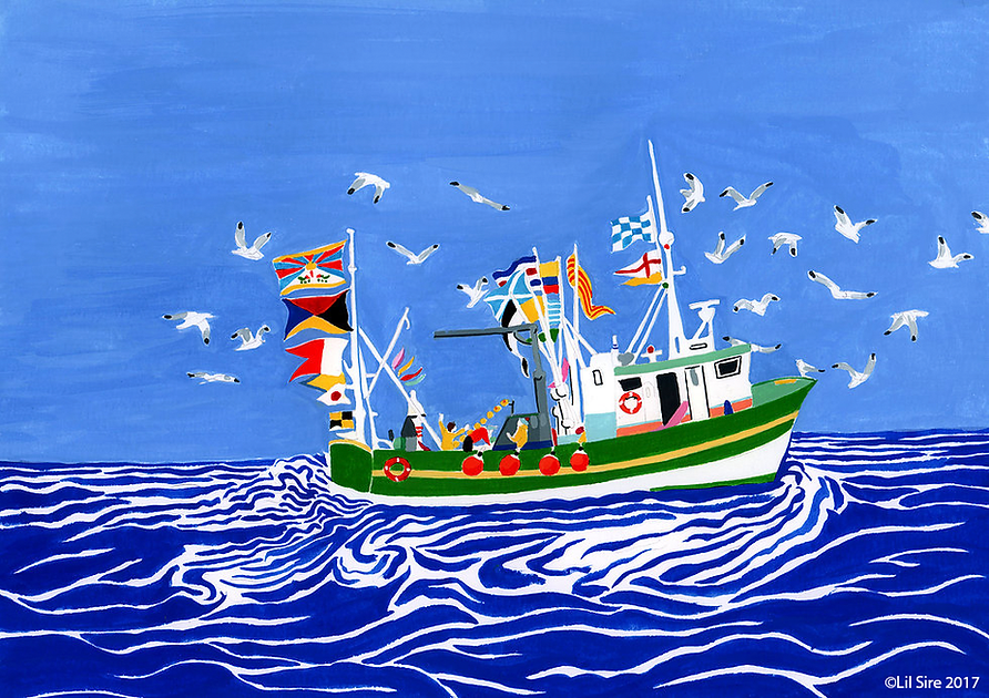 fishing boat in the sea illustration by Lil Sire art