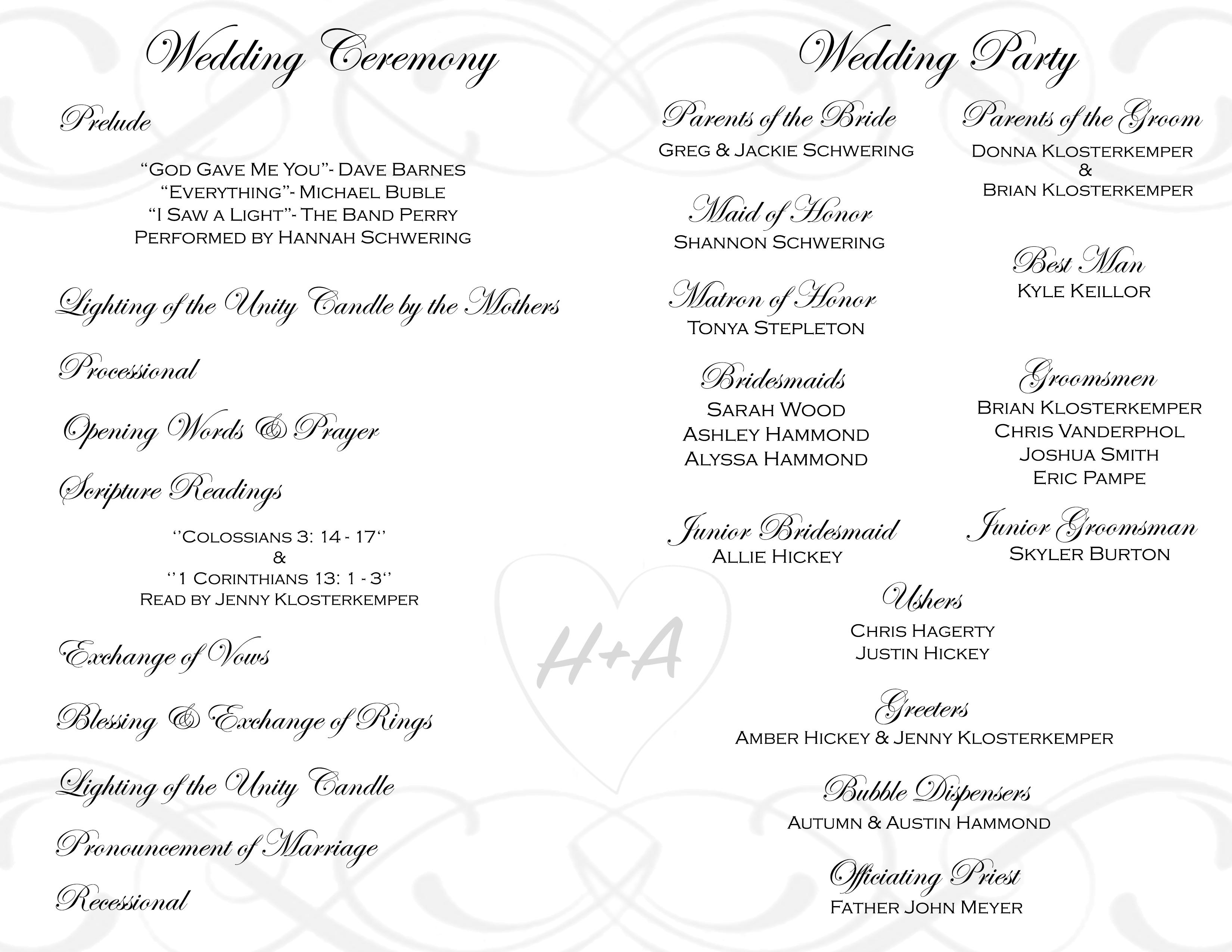 Wedding Program Inside