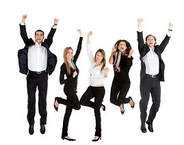 Happy business people jumping - isolated