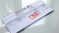 Medical bill paid, seal stamped on docum