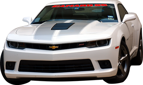 Camaro SS- Red and White Windshield Graphic