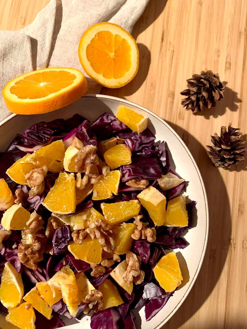 Narancsos lilakáposzta salát