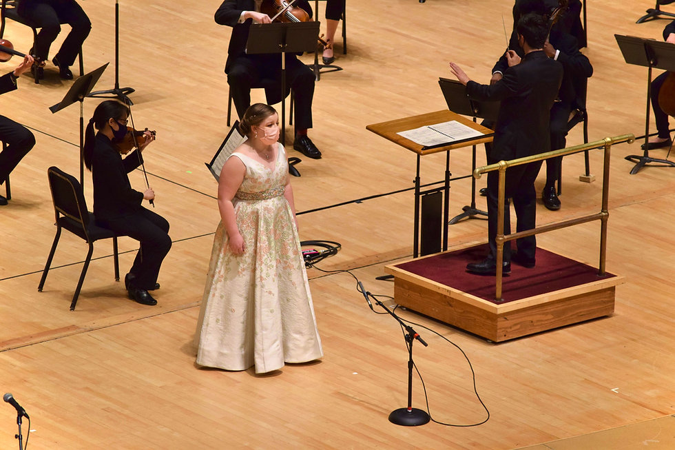 Gwen Paker singing with the Eastman Philharmonia