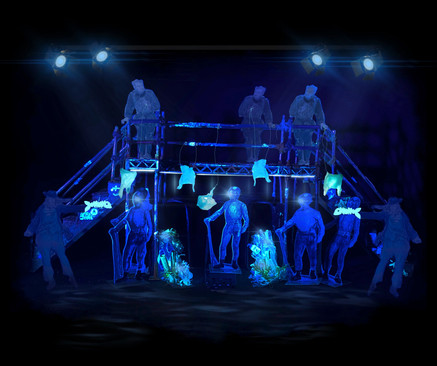 '20,000 Leagues Under The Sea'   BOVTS   1:25 Model box image: Underwater UV Scene   Adapted & directed by: Toby Hulse   Spring 2021   Designer and prop-costume maker: Maria Terry