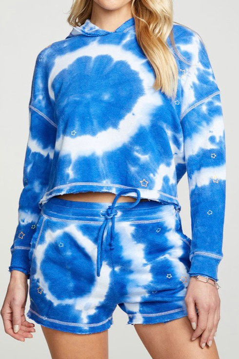 Chaser Blue Tie Dye Cropped Hoodie