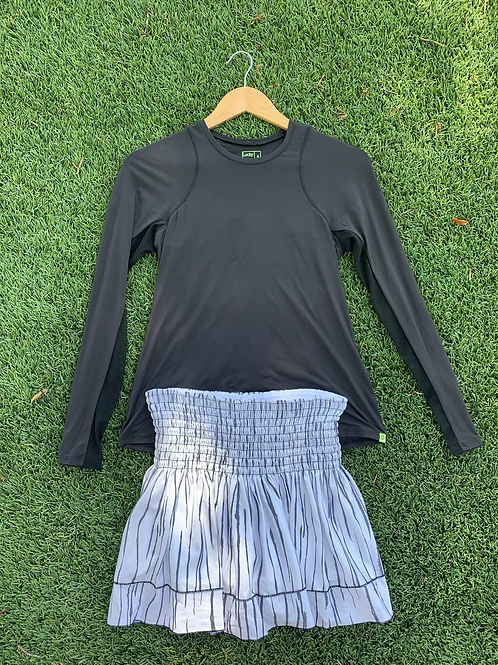 Zebra Striped Smocked Tennis Skirt