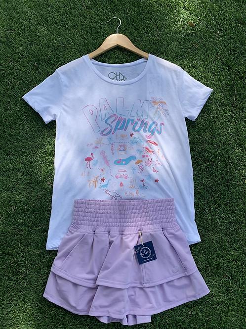 Lavender Bubble Ruffle Tennis Skirt