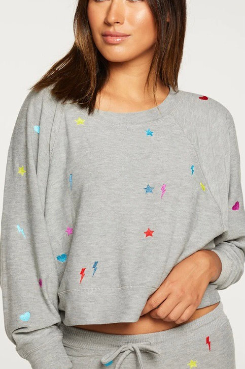Chaser rainbow stitches pullover