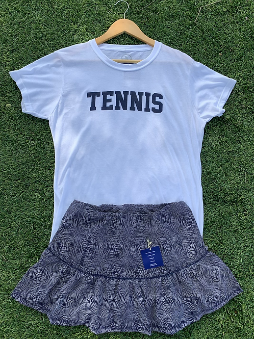 Navy Dot Bubble Lawley Tennis Skirt