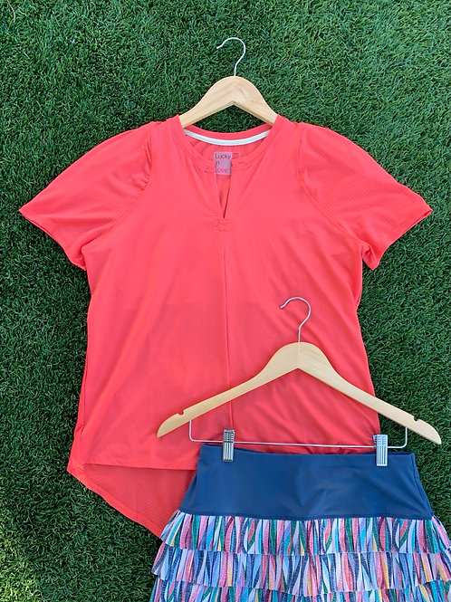 Lucky In Love Coral Tie Back tee