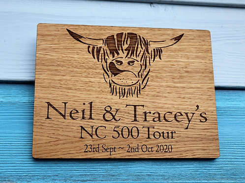 Personalised NC500 Coo Head Oak Veneer Wall Plaque