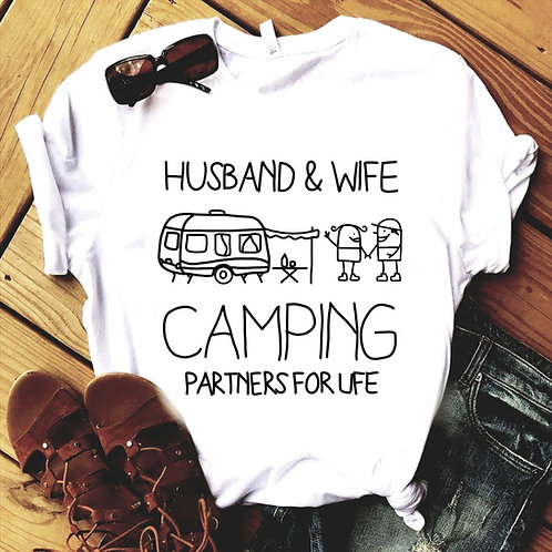 'Husband & Wife camping partners for life' Unisex T-shirt