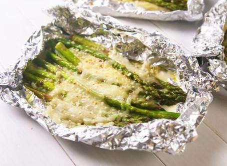 Easy cheesy asparagus campfire foil packs