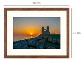 Reculver Sunrise Walnut Effect Framed Print 40 x 30 cm