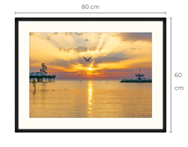 Seagull Sunset Black Framed Print 80 x 60 cm