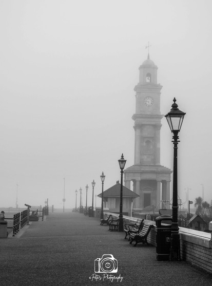 Clock Tower In The Mist