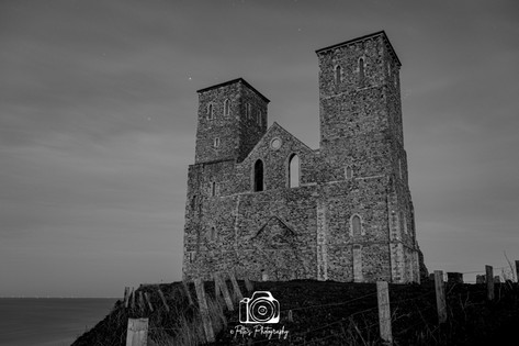 B & W Starry Reculver Towers