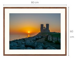 Reculver Sunrise Walnut Effect Framed Print 80 x 60 cm