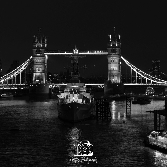 Tower Bridge and HMS Belfast B & W