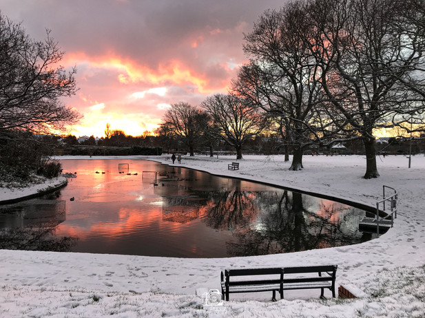 1. Snowy Sunset By The Pond
