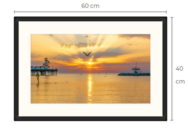 Seagull Sunset Black Framed Print 60 x 40 cm