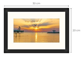 Seagull Sunset Black Framed Print 30 x 20 cm