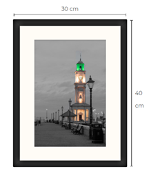 Duo-Tone Clock Tower Black Framed Print 40 x 30 cm
