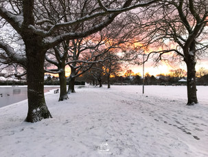 3. Snowy Sunset By The Pond