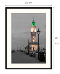 Duo-Tone Clock Tower Black Framed Print 80 x 60 cm