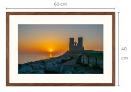 Reculver Sunrise Walnut Effect Framed Print 60 x 40 cm