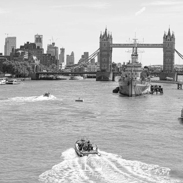 2 Tower Bridge and HMS Belfast B&W