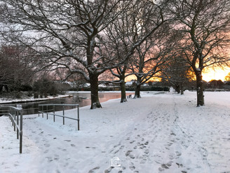 4. Snowy Sunset By The Pond