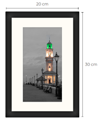 Duo-Tone Clock Tower Black Framed Print 30 x 20 cm