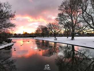 5. Snowy Sunset By The Pond