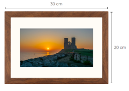 Reculver Sunrise Walnut Effect Framed Print 30 x 20 cm